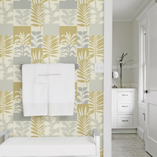 2814-M1834 Brewster Wallcovering Advantage Bath Hammons Block Botanical Wallpaper Gold Room Setting