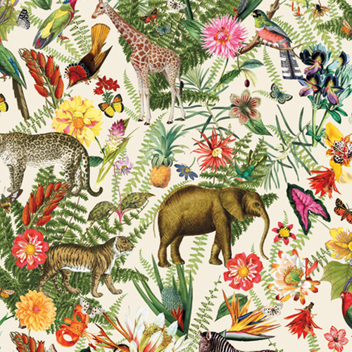 RMK11255RL York Wallcovering RoomMates Tropical Zoo Peel and Stick Wallpaper