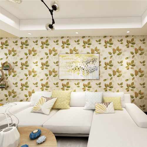 2835-DI40402 Brewster Wallcovering Advantage Deluxe Dorado Leaf Toss Wallpaper Green Room Setting