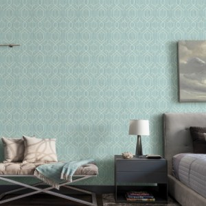 2838-AW87730 Brewster Wallcovering Decorline Vista Lyla Trellis Wallpaper Teal Room Setting