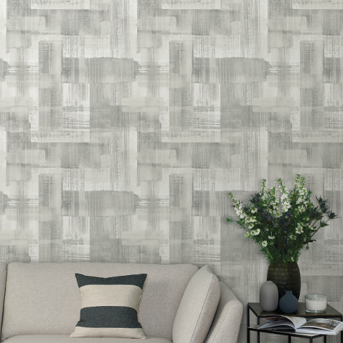 2889-25227 Brewster Wallcovering A Street Prints Terence Conran Plain Simple Useful Trosa Brushstroke Wallpaper Grey Room Setting