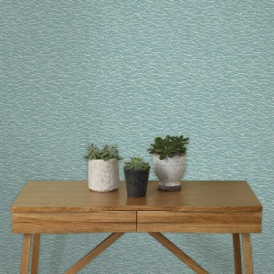 2889-25242 Brewster Wallcovering A Street Prints Terence Conran Plain Simple Useful Hono Abstract Wave Wallpaper Blue Room Setting
