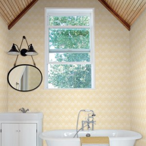 NR1551 York Wallcovering Norlander Chalet Wallpaper Yellow Room Setting