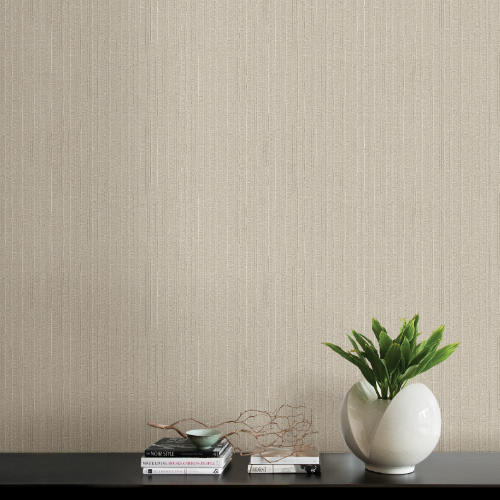 2838-IH2243 Brewster Wallcovering Decorline Vista Kinsley Textured Stripe Wallpaper Beige Room Setting