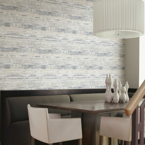 2838-IH2253 Brewster Wallcovering Decorline Vista Makayla Distressed Stripe Wallpaper Grey Room Setting