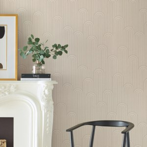 CA1544 York Wallcovering Antonina Vella Deco Speakeasy Wallpaper Beige Room Setting