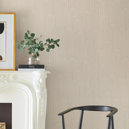 CA1544 York Wallcovering Antonina Vella Deco Speakeasy Wallpaper Beige Room Setting