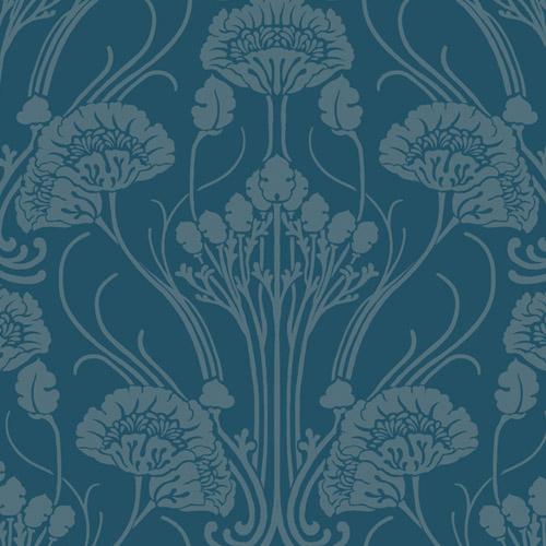 CA1565 York Wallcovering Antonina Vella Deco Nouveau Damask Wallpaper Blue