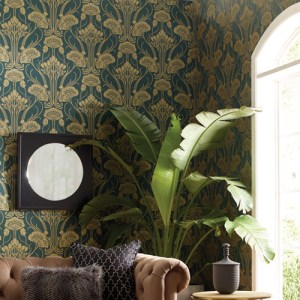 CA1566 York Wallcovering Antonina Vella Deco Nouveau Damask Wallpaper Green Room Setting