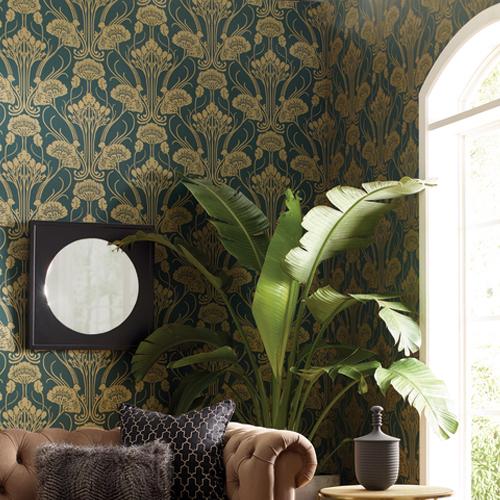 CA1566 York Wallcovering Antonina Vella Deco Nouveau Damask Wallpaper Green Room Setting