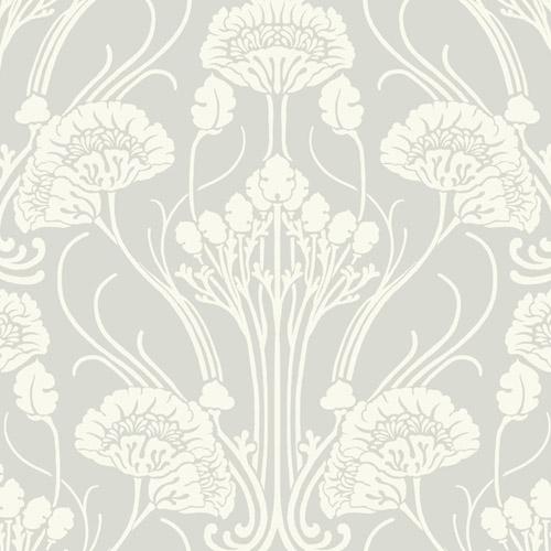 CA1567 York Wallcovering Antonina Vella Deco Nouveau Damask Wallpaper Grey