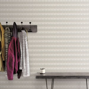 GX37609 Patton Wallcovering Norwall GeometriX Zig Zag Wallpaper Pepper Room Setting