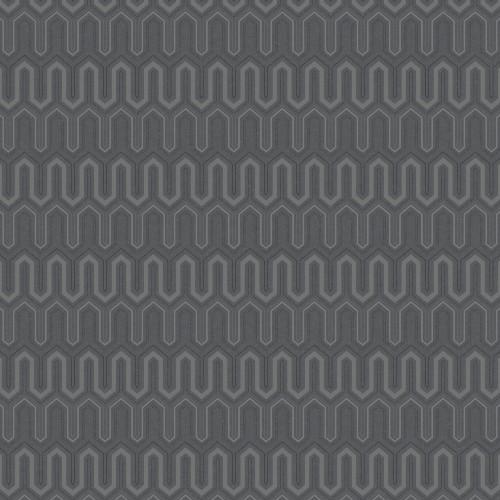 GX37614 Patton Wallcovering Norwall GeometriX Zig Zag Wallpaper Black