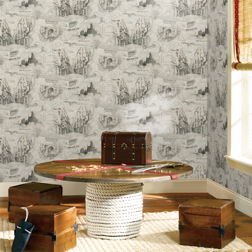 RMK11261RL York Wallcovering RoomMates Harry Potter Map Peel and Stick Wallpaper Playroom Setting