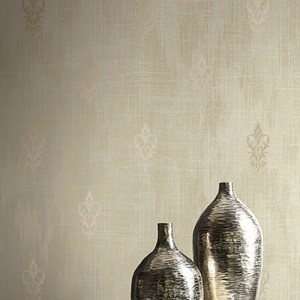 2011106 Seabrook Wallcovering Etten Gallerie Aura Fluer de Lis Wallpaper Gold Room Setting