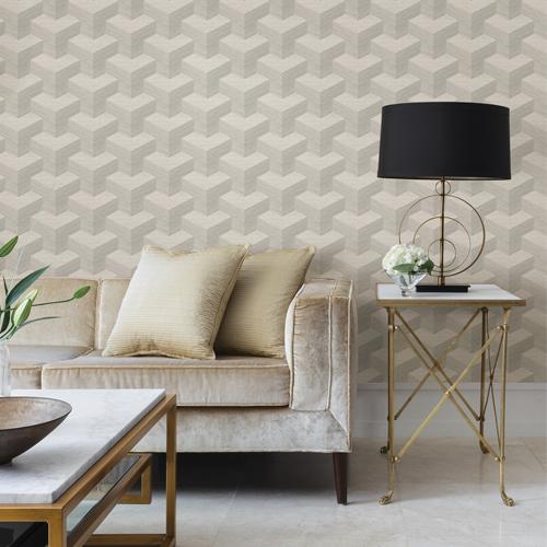 2829-82053 Brewster Wallcovering A Street Prints Fibers Y Knot Geometric Texture Wallpaper Light Grey Room Setting