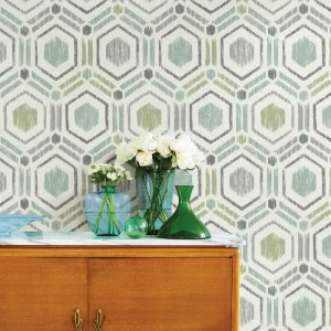 2901-25435 Brewster Wallcovering A Street Prints Perennial Borneo Geometric Grasscloth Wallpaper Light Green Room Setting