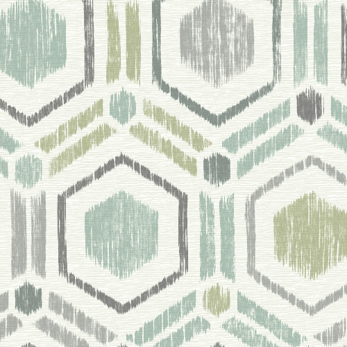 2901-25435 Brewster Wallcovering A Street Prints Perennial Borneo Geometric Grasscloth Wallpaper Light Green