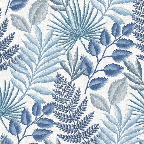 2901-57505 Brewster Wallcovering A Street Prints Perennial Palomas Botanical Wallpaper Blue