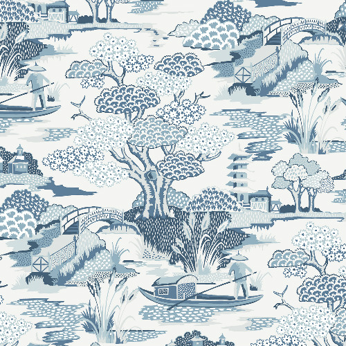 2901-87507 Brewster Wallcovering A Street Prints Perennial Joy De Vie Toile Wallpaper Blue