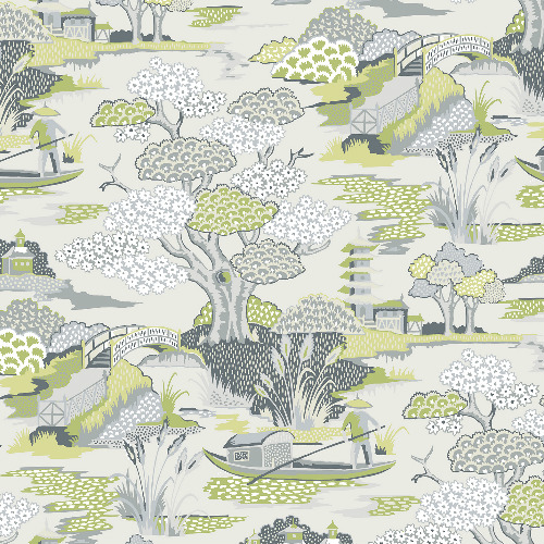 2901-87508 Brewster Wallcovering A Street Prints Perennial Joy De Vie Toile Wallpaper Green
