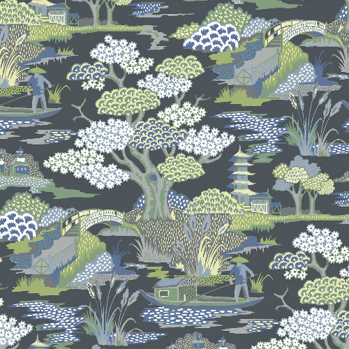 2901-87510 Brewster Wallcovering A Street Prints Perennial Joy De Vie Toile Wallpaper Indigo