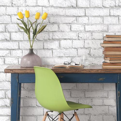 RMK11237WP York Wallcovering RoomMates White Brick Peel and Stick Wallpaper Room Setting