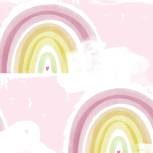DA60201 Seabrook Wallcovering Day Dreamers Rainbow Wallpaper Pink