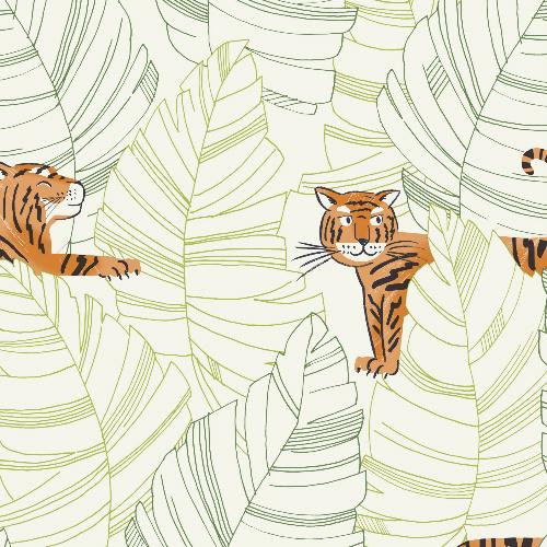 DA61204 Seabrook Wallcovering Day Dreamers Jungle Tiger Wallpaper Green