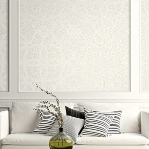 2010705 Seabrook Wallcovering Etten Gallerie Aura Embroidered Filigree Trellis Wallpaper Beige Room Setting