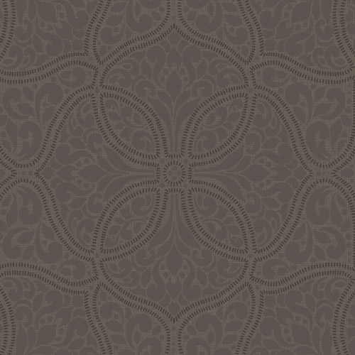 2010706 Seabrook Wallcovering Etten Gallerie Aura Embroidered Filigree Trellis Wallpaper Brown