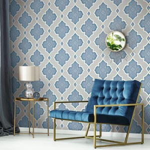 2011202 Seabrook Wallcovering Etten Gallerie Aura Paisley Quatrefoil Wallpaper Blue Room Setting