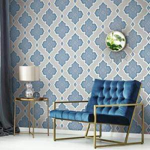 2011202 Seabrook Wallcovering Etten Gallerie Aura Paisley Quatrefoil Wallpaper Blue Room Setting