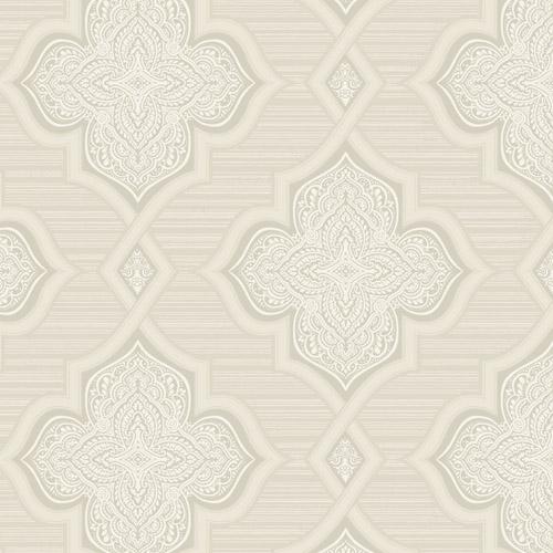 2011205 Seabrook Wallcovering Etten Gallerie Aura Paisley Quatrefoil Wallpaper Ivory