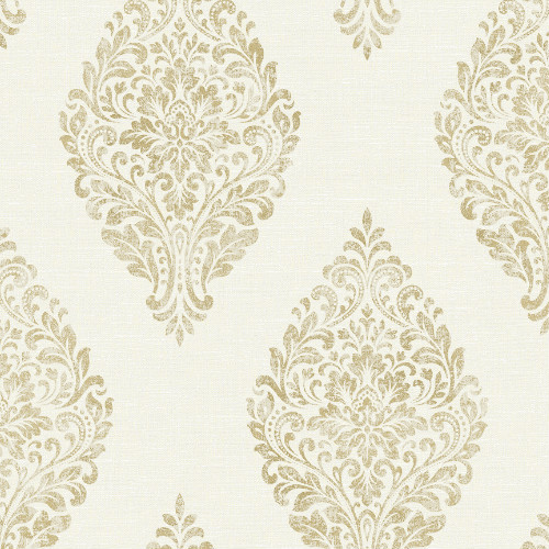 2834-25042 Brewster Wallcovering Advantage Metallic Pascale Medallion Wallpaper Off-White