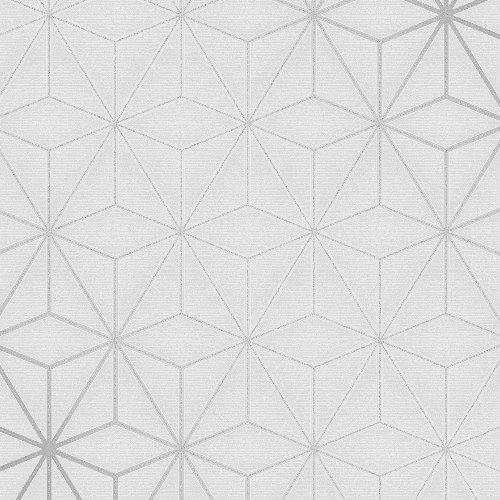 2834-42338 Brewster Wallcovering Advantage Metallic Augustin Geometric Wallpaper Light Grey with Silver