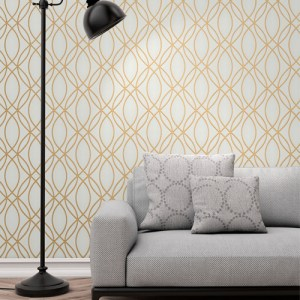 2834-42341 Brewster Wallcovering Advantage Metallic Lisandro Geometric Lattice Wallpaper Gold Room Setting