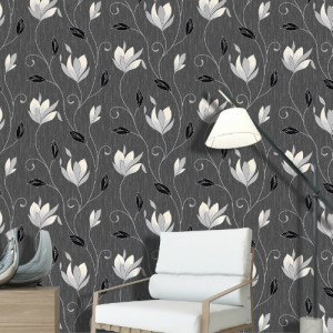 2834-M0783 Brewster Wallcovering Advantage Metallic Anais Floral Trails Wallpaper Charcoal Room Setting