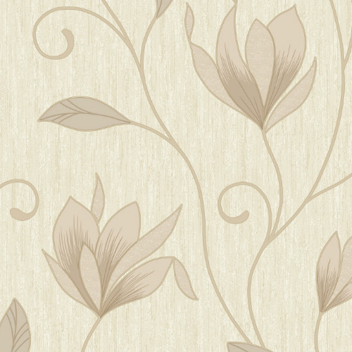 2834-M0868 Brewster Wallcovering Advantage Metallic Anais Floral Trails Wallpaper Cream