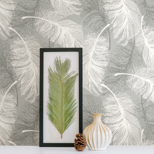 2836-M0923 Brewster Wallcovering Advantage Shades of Grey Alonso Plume Wallpaper Grey Room Setting