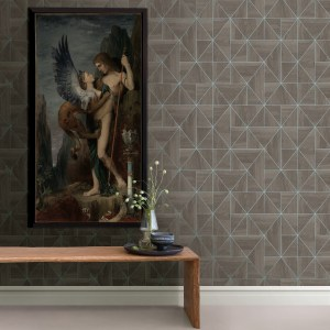 2908-25322 Brewster Wallcovering A Street Prints Alchemy Cheverny Geometric Wood Wallpaper Coffee Room Setting