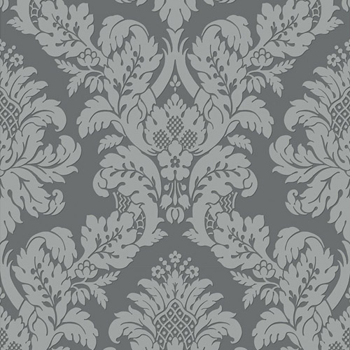 UK10435 Seabrook Wallcovering Pear Tree Studio Shimmer Glitter Damask Wallpaper Dark Grey