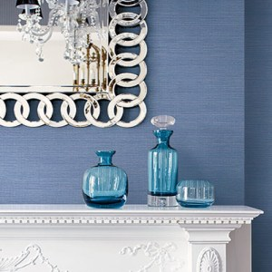 BV35432 Seabrook Wallcovering Texture Gallery Coastal Hemp Wallpaper Carolina Blue Room Setting