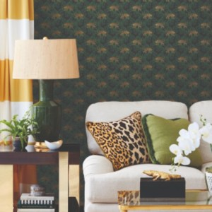 SP1451 York Wallcovering Small Prints On The Prowl Wallpaper Black Room Setting