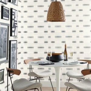 SR1574 York Wallcovering Stripes Resource Library Dashing Stripe Wallpaper Black White Room Setting