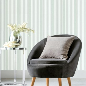 SR1583 York Wallcovering Stripes Resource Library French Linen Stripe Wallpaper Green Room Setting