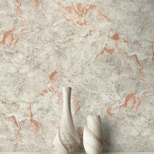 UK21111 Seabrook Wallcovering Pear Tree Studio Shimmer Faux Marble Wallpaper Rose Room Setting