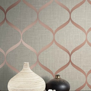 UK21201 Seabrook Wallcovering Pear Tree Studio Shimmer Trellis Ogee Wallpaper Rose Gold Room Setting