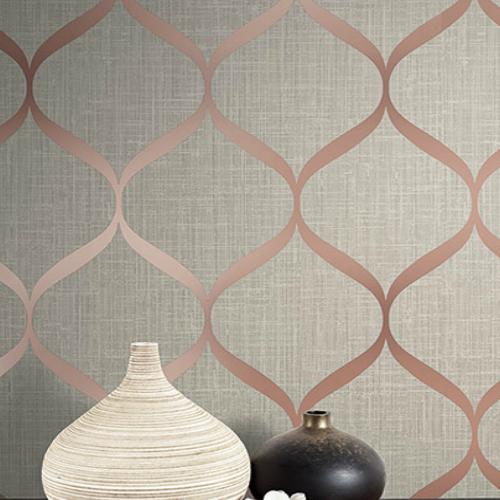 UK21201 Seabrook Wallcovering Pear Tree Studio Shimmer Trellis Ogee Wallpaper Rose Gold Room Setting