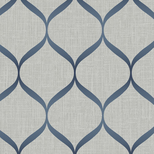 UK21212 Seabrook Wallcovering Pear Tree Studio Shimmer Trellis Ogee Wallpaper Grey